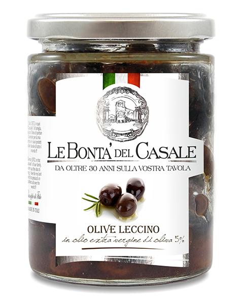 "Natural spiced black olives ""Leccino"" in extra virgin olive oil"