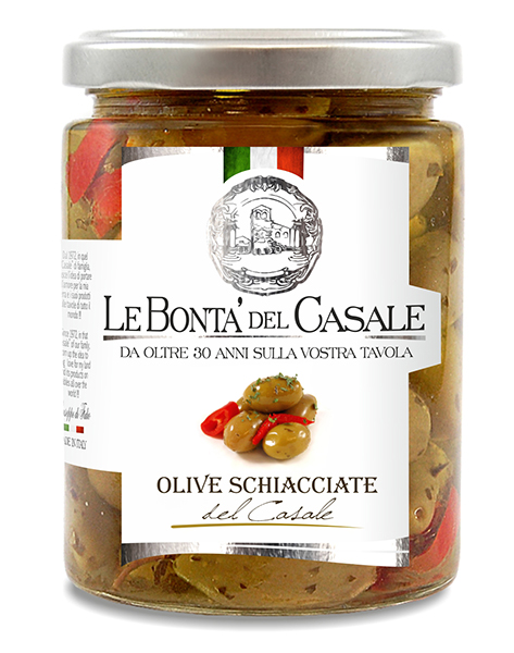 "Crushed & spiced green olives ""del casale"" in oil"